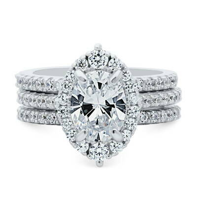 BERRICLE Sterling Silver Oval Cut CZ Halo Engagement Wedding
