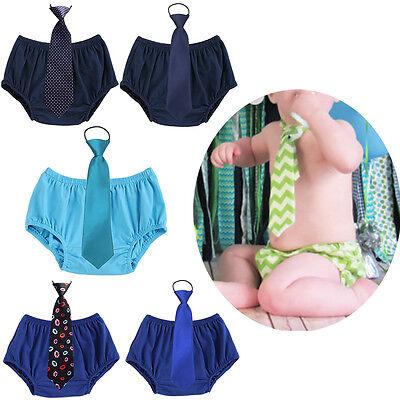 Toddler Baby Kid Boy 1st Birthday Cake Smash Outfit Short Pants Bloomers Necktie (1st Birthday Smash Cake)
