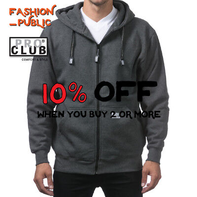 PROCLUB PRO CLUB MEN HEAVYWEIGHT ZIPPER HOODIE CASUAL ZIP UP HOODED SWEATSHIRTS