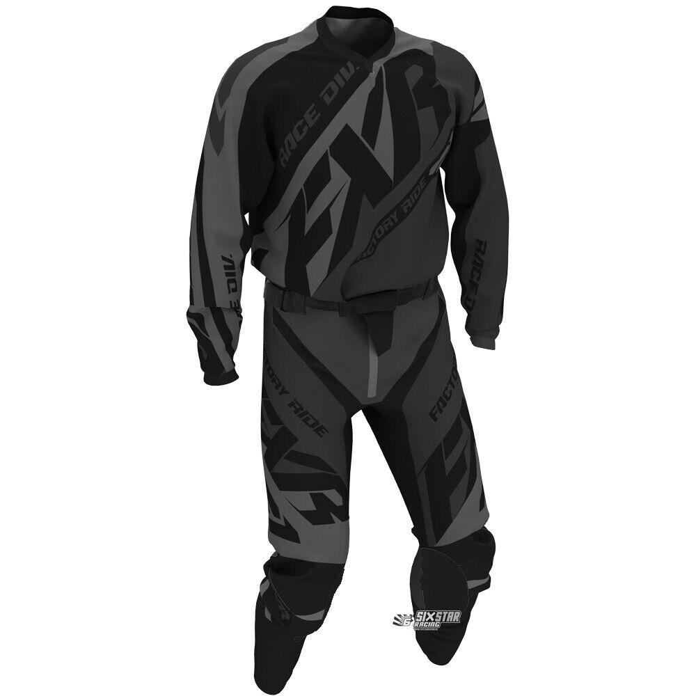 Neu FXR Racing MX Clutch Prime Schwarz Motocross Jersey Hose Combo Kit OUTLET