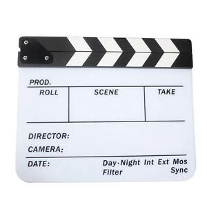 Acrylic Clap Clapper Clapperboard Board TV Film Movie Action Scene Slate NEW