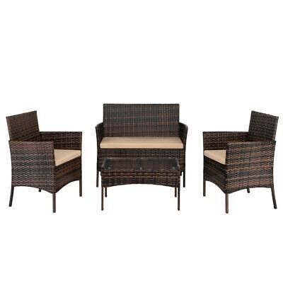 4PC Outdoor Patio Lawn Sofa Set Rattan Wicker Furniture Tabl