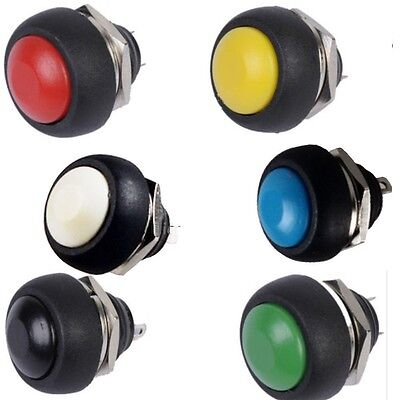 6pcs Mini 12mm Waterproof Momentary Onoff Push Button Round Switch