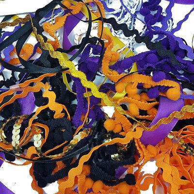 12 x 1 Metre Mix Bundle Halloween Satin Lace Trim Sequin Craft Project Activity ()