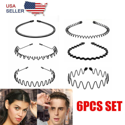 6PCS Metal Hair Headband Band Comb Sports Hairband Wave Style Hoop For Men Women Clothing, Shoes & Accessories