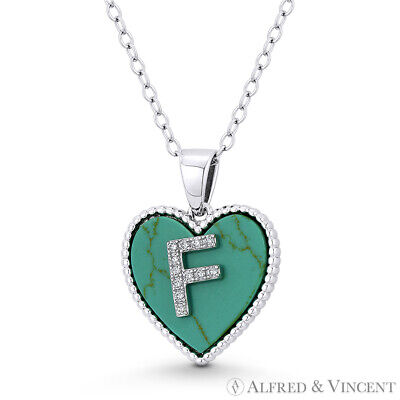 Initial Letter F CZ & Turquoise Heart Charm 925 Sterling Silver Necklace Pendant Initial Heart Charm Letter