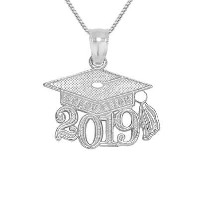 Sterling Silver 2019 GRADUATION CAP Pendant / Charm, Made in USA, 18