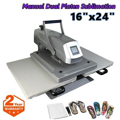16x24 Manual Dual Platen Sublimation Heat Press Machine Double Working Station