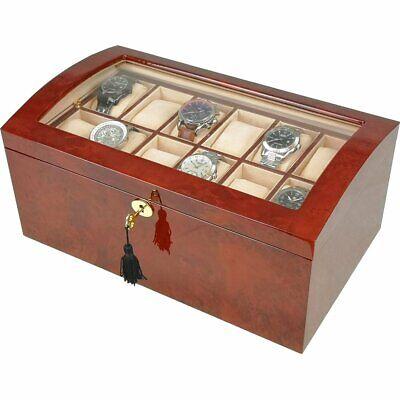 Grande Laminado Makah Burlwood 24 Reloj Coleccionista Caja Con Tapa de Cristal