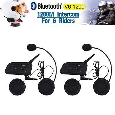 2 x 1200M Wireless Bluetooth Motorcycle Helmet Interphone Intercom 6 Riders New