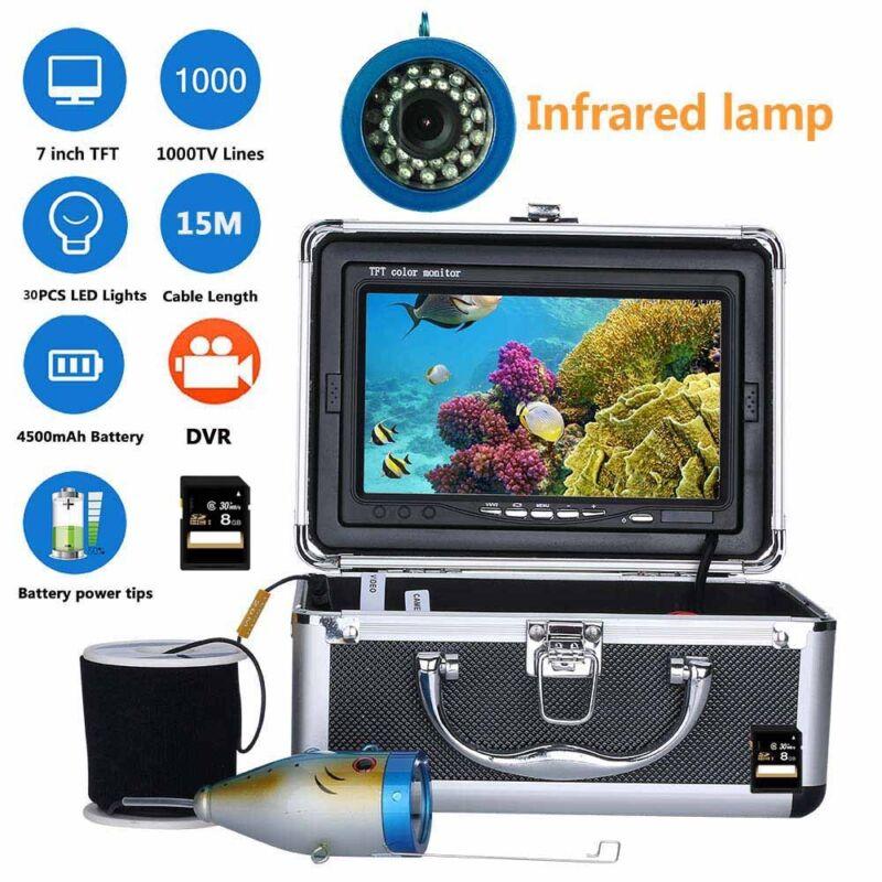 "7""DVR 1000TVL 15M Underwater Fishing Video Camera Kit 30 PCS LED Infrared Lamp"