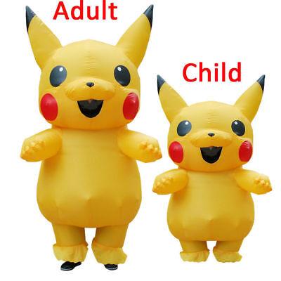 Unisex Maskottchen Pikachu aufblasbare Kostüm Cosplay Halloween lustige Kleid DE