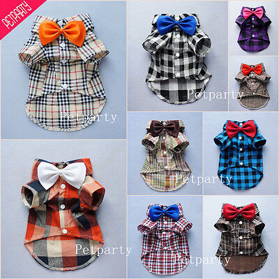 Fitwarm Handsome Wedding Dog Shirt Plaid Pet Clothes for Boys Polo Coat Bow Tie