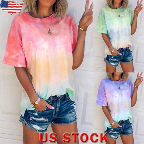 Womens Tie Dye Blouse Ladies Summer Short Sleeve Tops Casual