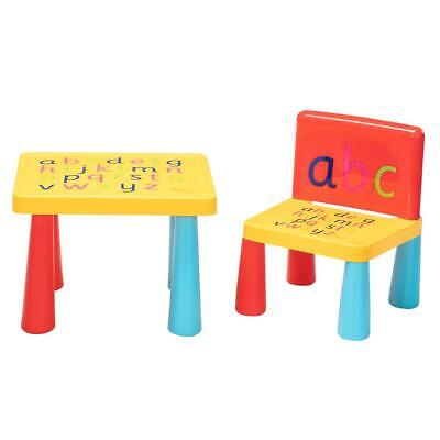NEW Kid Plastic Table and Chair Set Furniture Activity Toddler Toy Play Home US