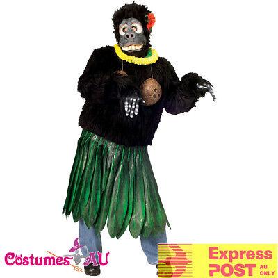 Aloha Gorilla - Mens Aloha Gorilla Costume Funny Animal Zoo Hawaiian Luau Party Outfit + Mask