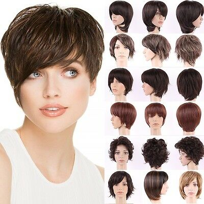 Pretty Short Hair Wig Real Thick Synthetic Costume Wigs Curly Straight Ombre ##