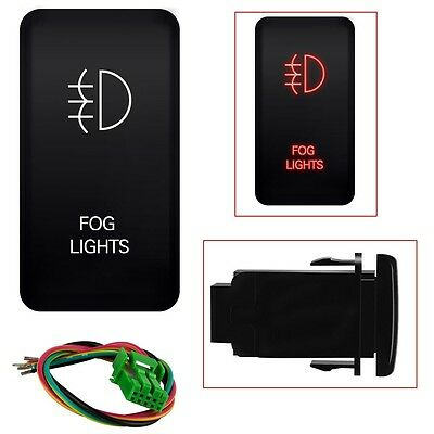 - 12V Push Switch Red LED Fog Light For Toyota 4Runner Tocoma 120 Series 40mm*20mm