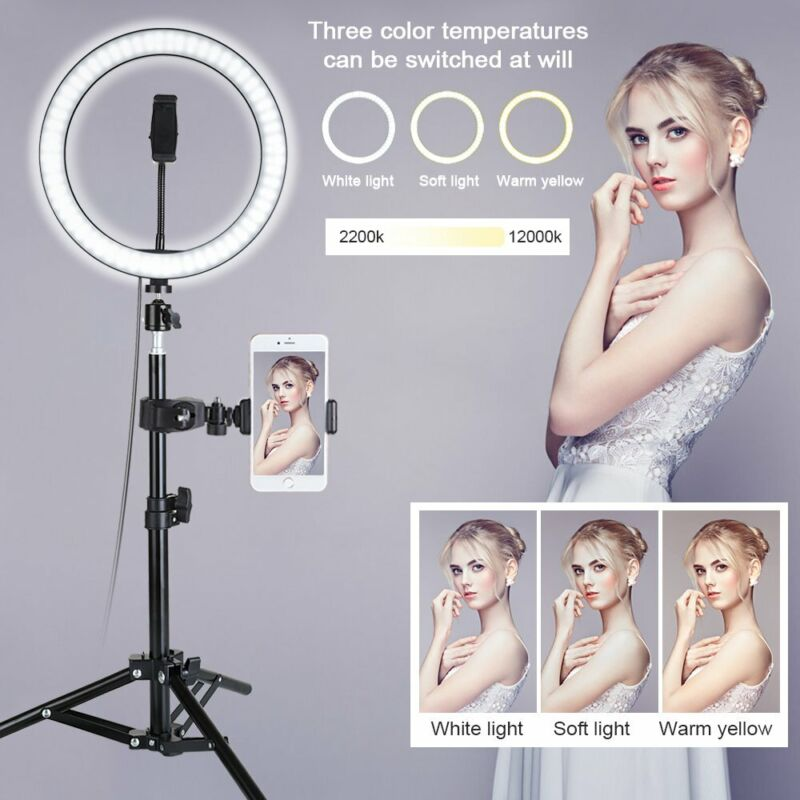 "New 10"" LED Ring Light Camera Lamp+Tripod Stand Phone Holder For Video Live"