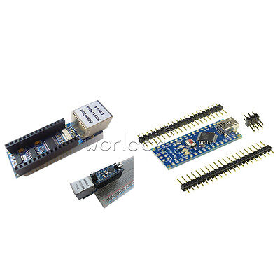 Arduino Usb Nano V3.0 4.0 Atmega328p 5v Board Enc28j60 Ethernet Shield Module