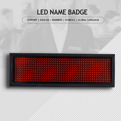 Red Led Programmable Scrolling Name Tag Badge Display Moving Sign