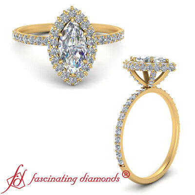 Yellow Gold Marquise Cut Diamond Halo Rollover Engagement Ring For Women 1.35 Ct