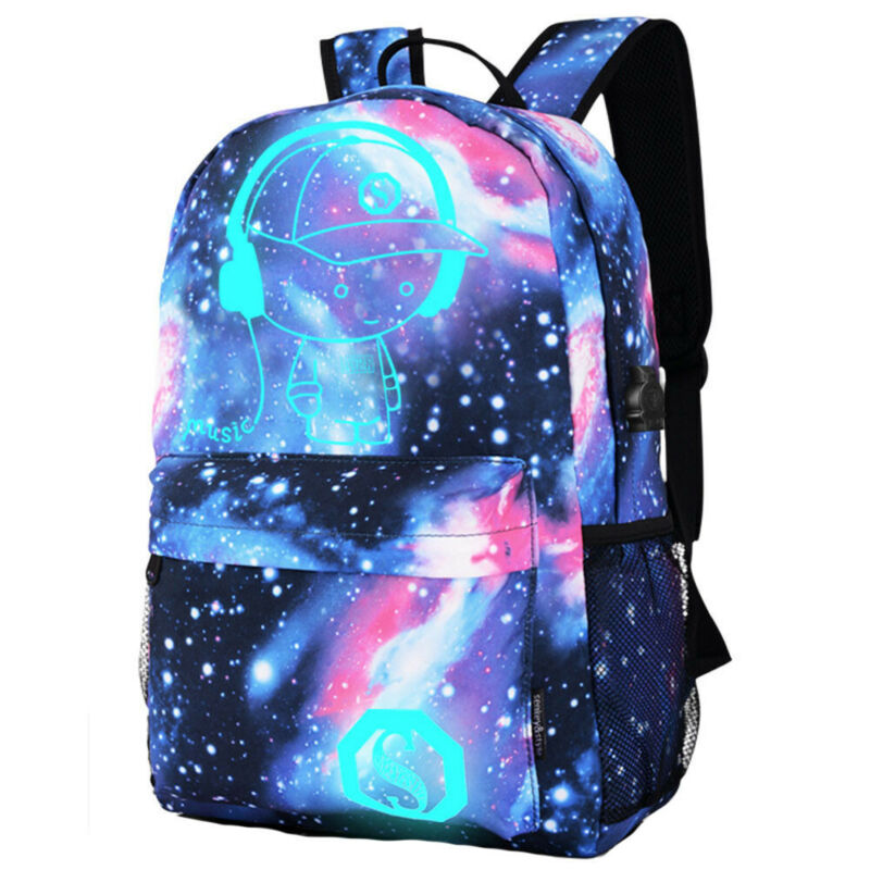 Galaxy School Bag Backpack Collection Canvas USB Charger for