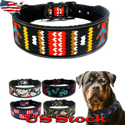Nylon Dog Collar Reflective Breathable Padded Striped Medium Large Dogs Collar