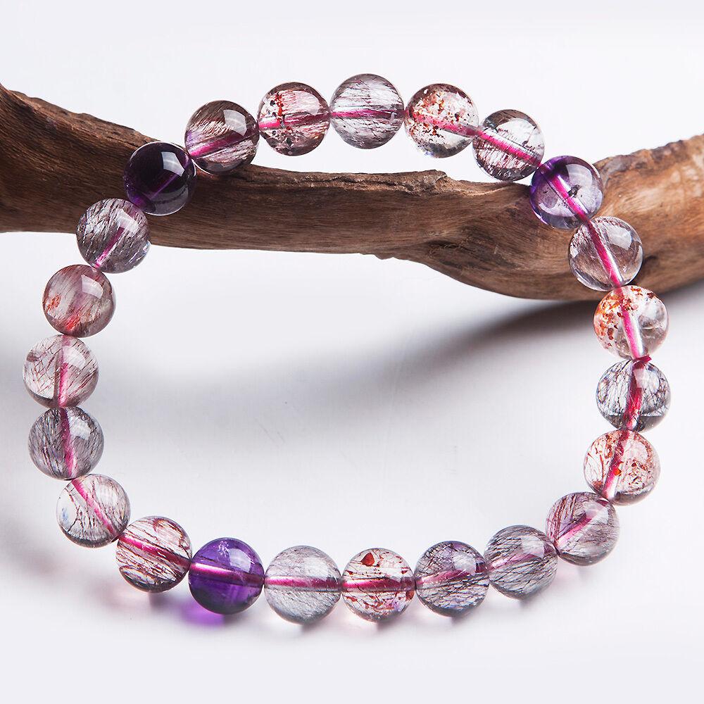 12mm Natural Purple Crystal Violet Pyramid Gemstone Round Beads Bracelet AAAA