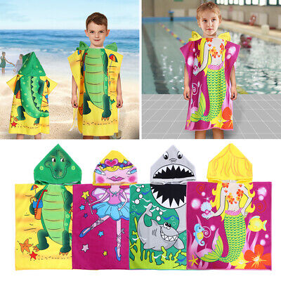 US Animal Hooded Bath Beach Swimming Towel Poncho Kids Boys Girls - Childrens Swimming Towels