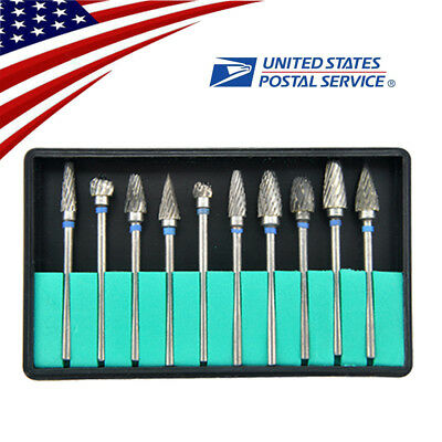 10 Pcs Tungsten Carbide Steel Dental Burs Burrs Lab Tooth Drill 2.35mm Polisher