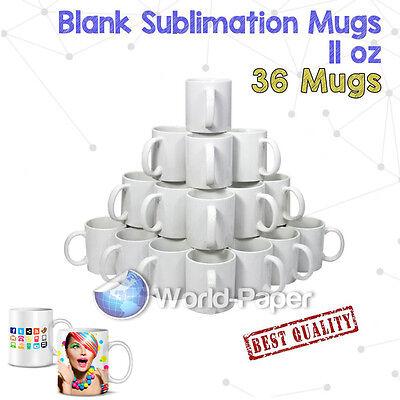 36x White Dye Sublimation Coffee Mug Cup - Dishwasher Proof 11oz
