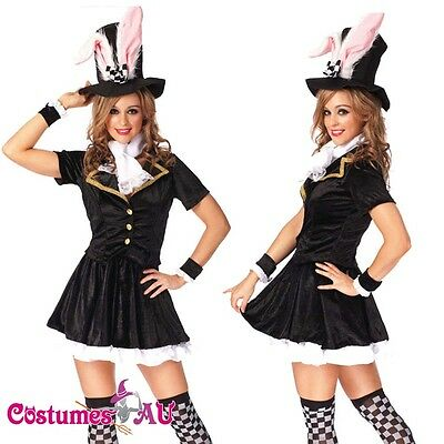 Ladies Black Bunny Rabbit Costume Fancy Dress Halloween Hens Party Full Outfit (Black Rabbit Halloween)
