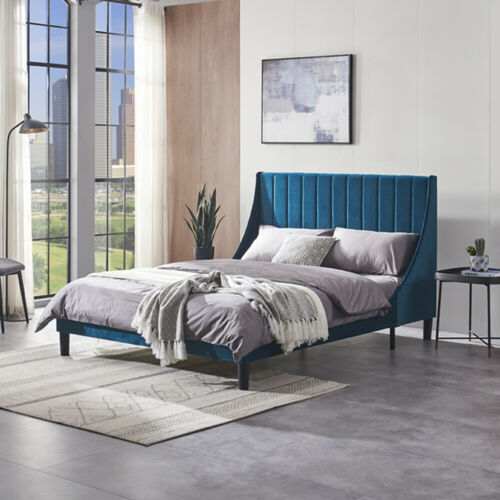 Full/Queen Size Platform Bed Frame With Headboard Upholstered Tufted Wooden Slat