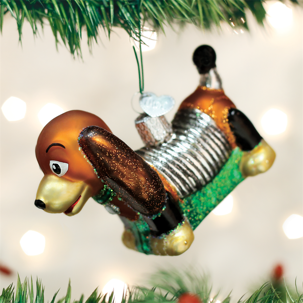 Toy Coil Dog Glass Ornament Old World Christmas New In Box T