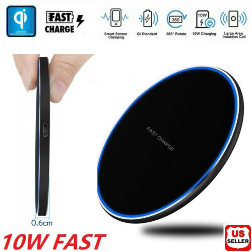 Fast Qi Wireless Charger Charging Pad iPhone 8 X XS XR Plus Galaxy Note S8 S9 10 Cell Phone Accessories