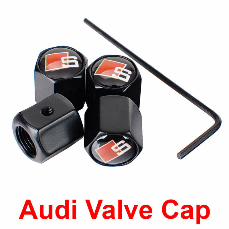 4Pcs AntiTheft Tire Wheel Rims Stem Air Valve Caps Tyre Cover Black For Audi