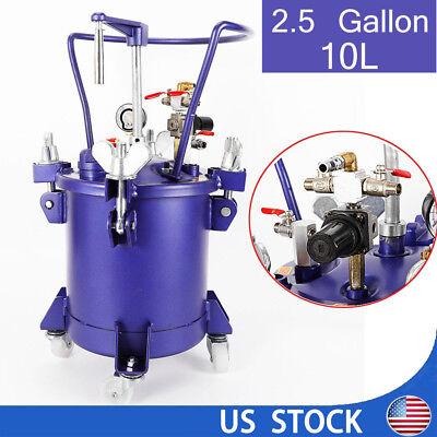 2.5 Gal Pressure Feed Paint Pot Tank Spray Gun Sprayer Regulator Air Agitator Us
