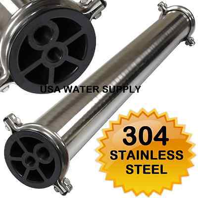 304 Stainless Steel Membrane Housing 4 x 40 RO Filtration 1/2""