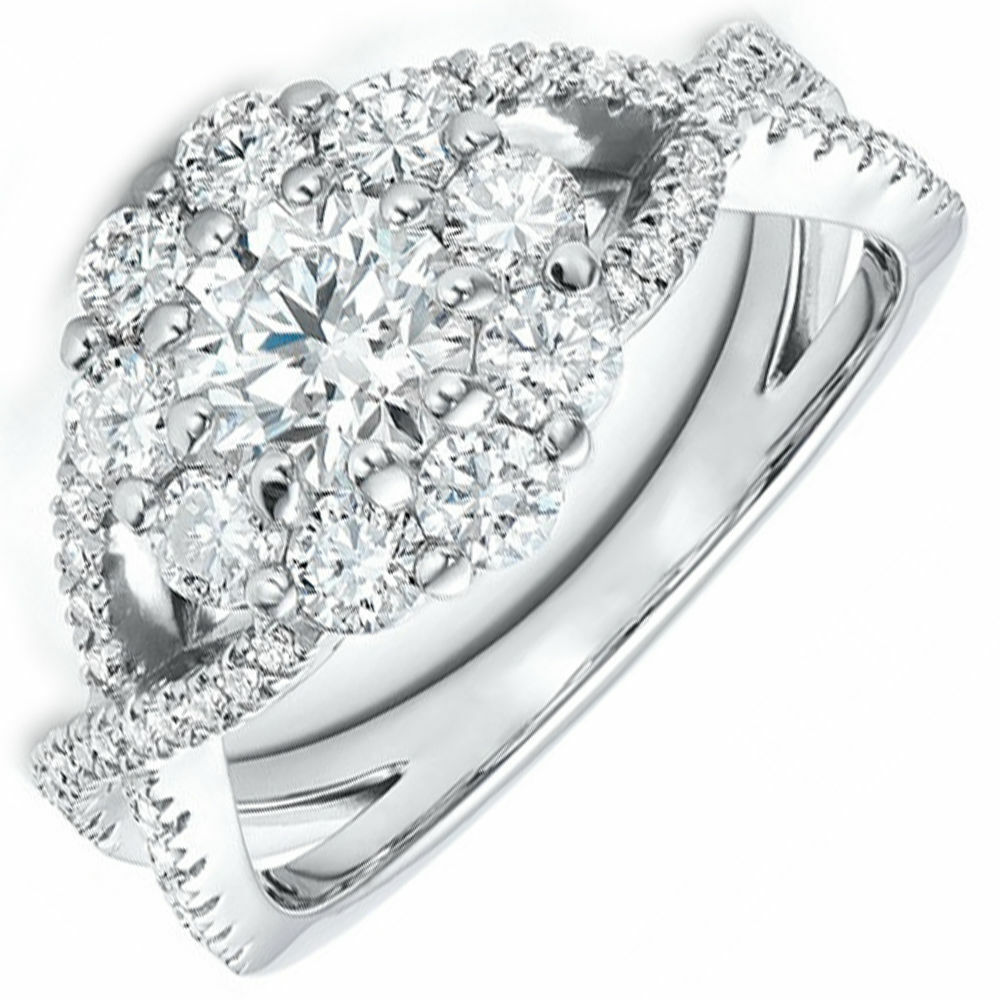 1.93 carat Round Cut Diamond Engagement Ring GIA Certified 18k White Gold