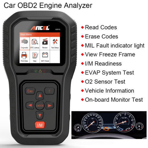 Ancel AD510 OBDII Diagnostic Tool Scanner Fault Code Reader With Battery Test