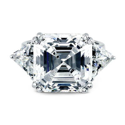 BERRICLE Sterling Silver Asscher Cut CZ 3-Stone Anniversary Engagement Ring ()