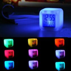 7 Color Glowing Change Alarm Clock Digital Clock Thermometer Cube LED Clock Time