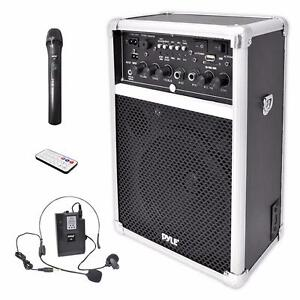 PYLE (PWMA170) DUAL CHANNEL 400 WATT WIRELESS PA SYSTEM W/USB/SD WITH 1 LAVALIER & 1 HANDHELD MIC