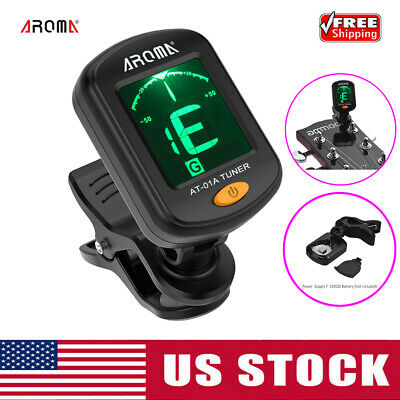 AROMA AT-01A Rotatable Clip-on Tuner Guitar Bass Ukulele Violin Z5M7
