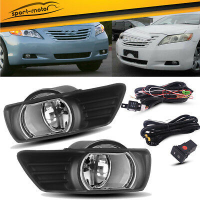 for 2007 2008 2009 Toyota Camry Clear Bumper Fog Lights Lamps+Switch+Wiring PAIR