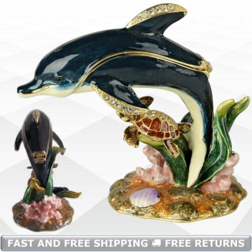 Dolphin Miniature Jewelry Trinket Box With Hinged Lid Enamel Jeweled Rhinestone