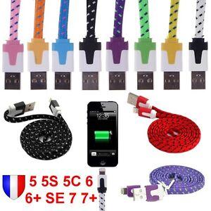 CHARGEUR-CABLE-USB-pour-iPhone-5-5S-5C-6-6-6S-SE-7-Plus-Couleur-Renforce-NYLON