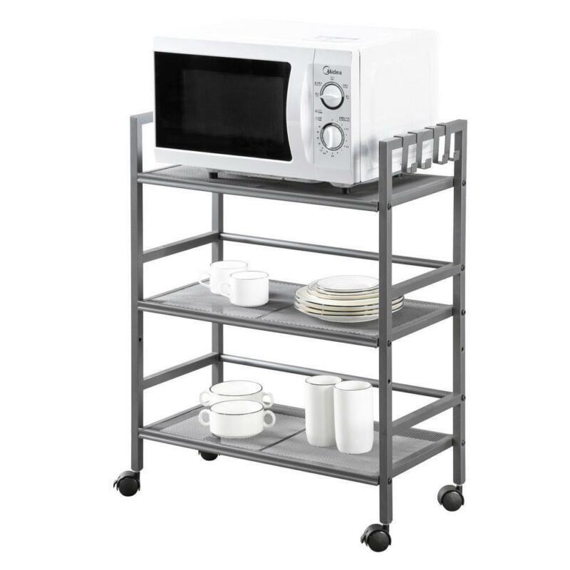 3Tier Rolling Utility Cart Mobile Storage Organizer Trolley Cart Shelf W/4 hooks