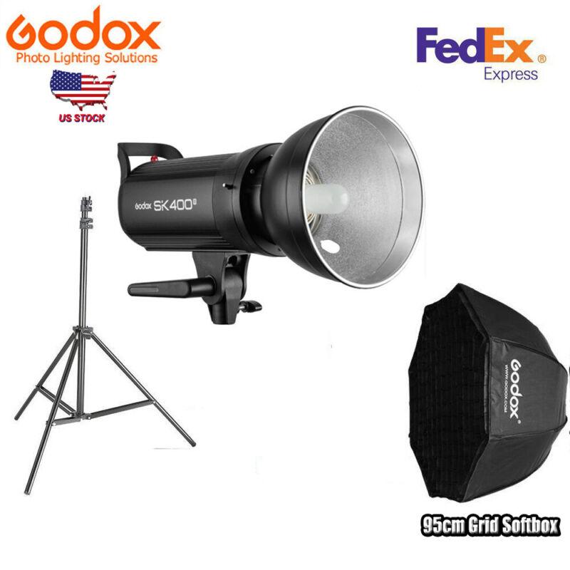 Godox SK400II 400w 2.4G Studio Flash Light Lamp With 95cm Grid Softbox Stand US